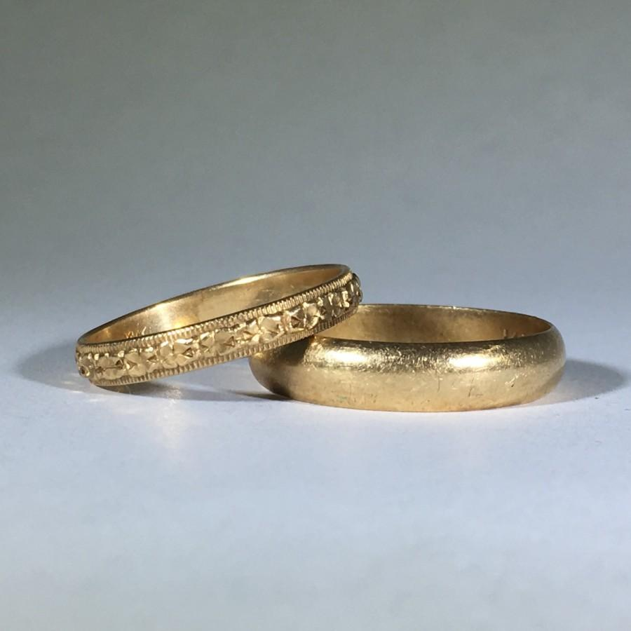 Vintage Gold Wedding Band Set His And Hers Art Nouveau Filigree Bands In 14k Yellow Circa 1940 Estate Jewelry Stacking Ring