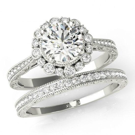 1 Carat Forever One Moissanite Diamond Bridal Set Vintage Wedding Sets Art Deco Inspired Engagement 14k