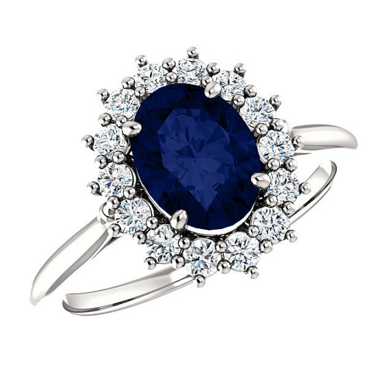 Relatively 8x6mm Oval Sapphire & Diamond Halo Engagement Ring, Princess Diana  PE62