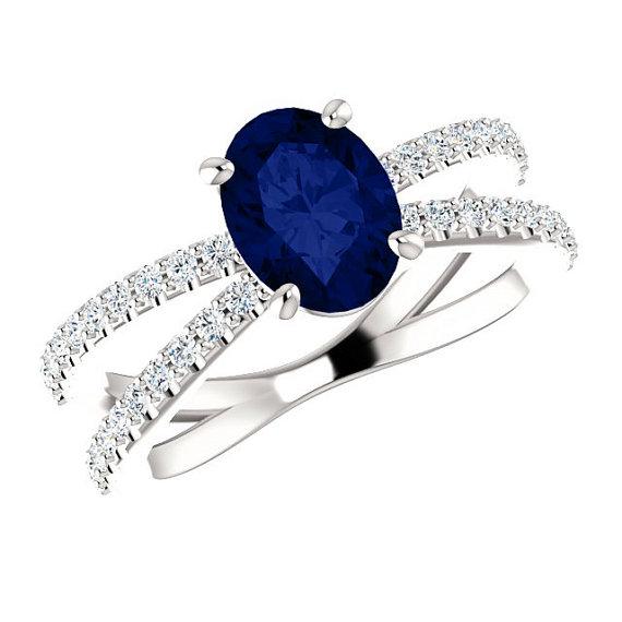 Top 8x6mm Oval Blue Sapphire & Diamond Criss-Cross Engagement Ring 14k  VO38