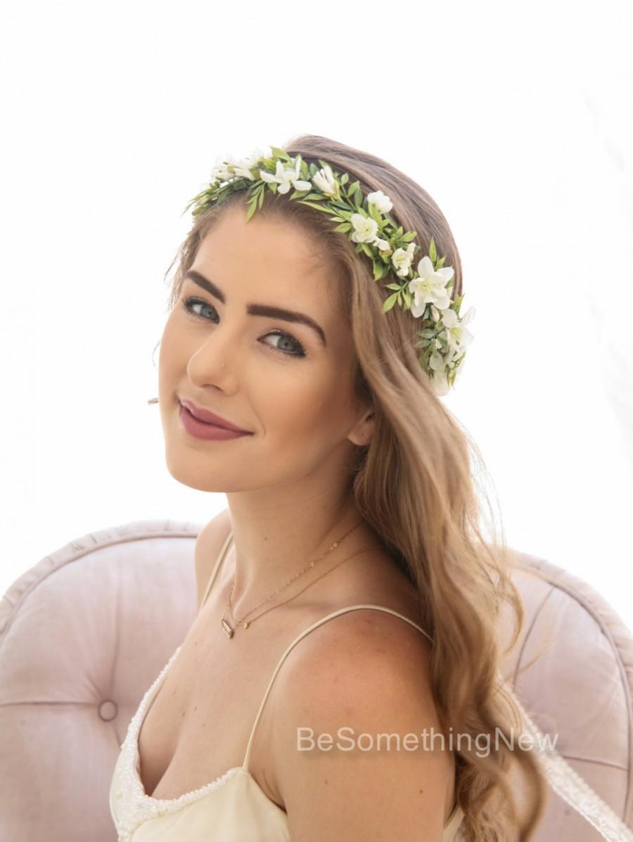 green leaf rustic floral crown with ivory flowers, woodland