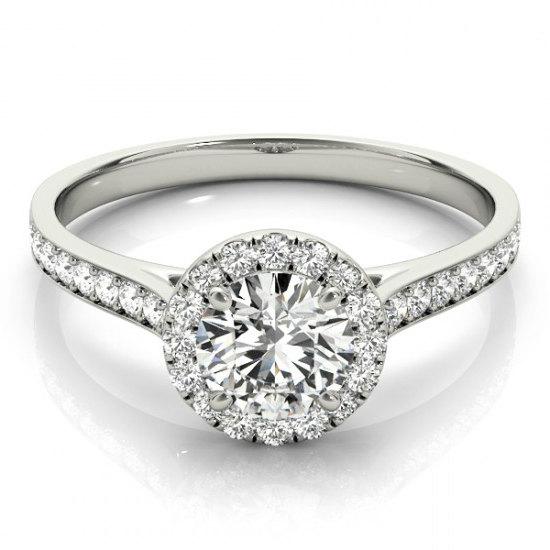 Forever e Moissanite & Diamond Halo Engagement Ring 14k White