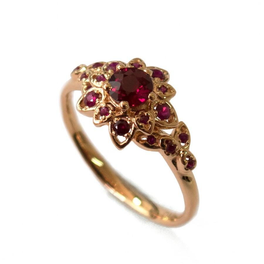 Finest Ruby Petal Engagement Ring - 18K Rose Gold And Ruby Engagement  AX65