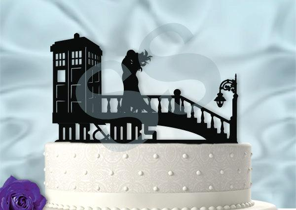 Mr And Mrs Windy Day At The Tardis Dr Who Inspired Wedding Cake Topper