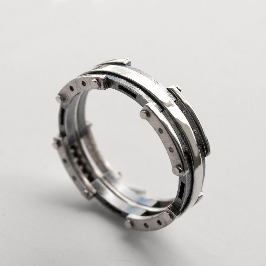 Platinum Wedding Band Men S And Oxidized Silver Ring Black White Mens 3