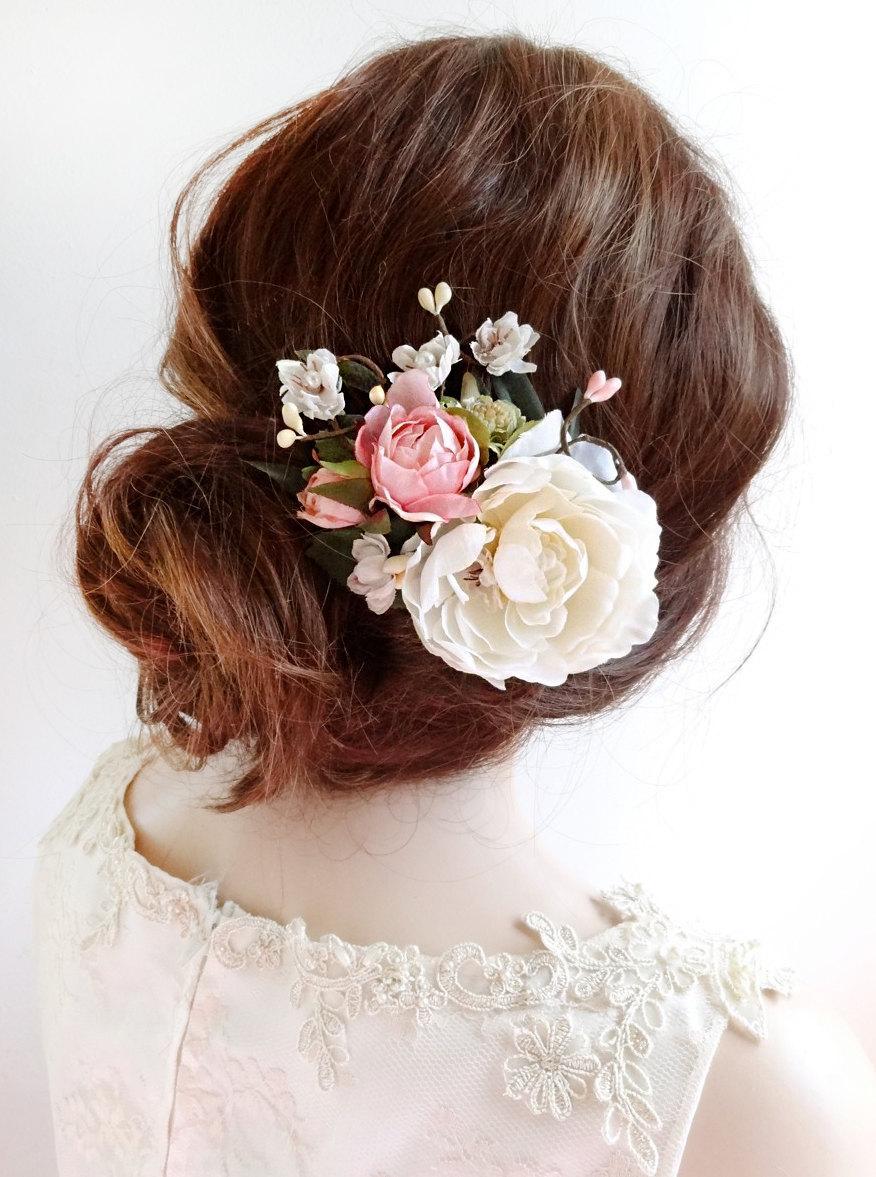 bridal hair clip, floral hair clip, bridal hair piece, floral hair