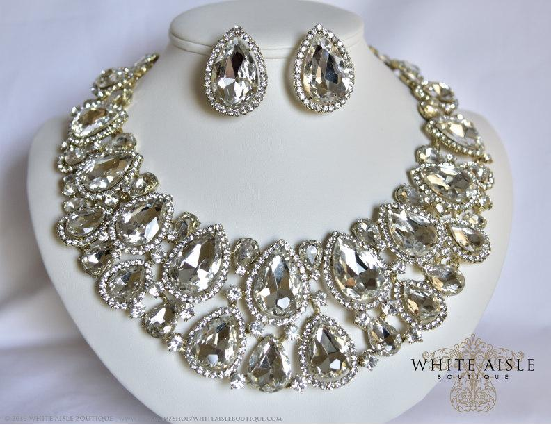 Gold Bridal Jewelry Set Crystal Statement Necklace Earrings Vintage Inspired Wedding