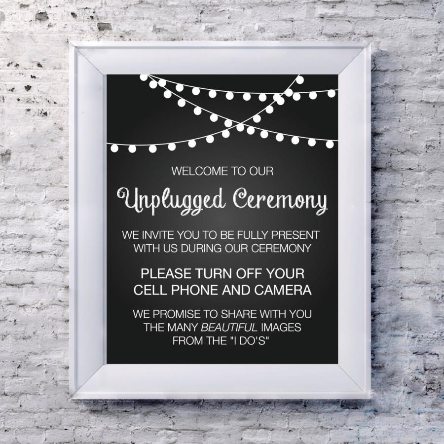 Wedding Sign Unplugged 8x10 No Camera Cell Phones Turn Off Unplug Ceremony Instant Download