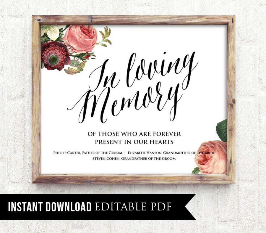 Editable Wedding Sign In Loving Memory Pdf Template Instant Personalize Names Clic Vintage Fl Printable Poster Diy