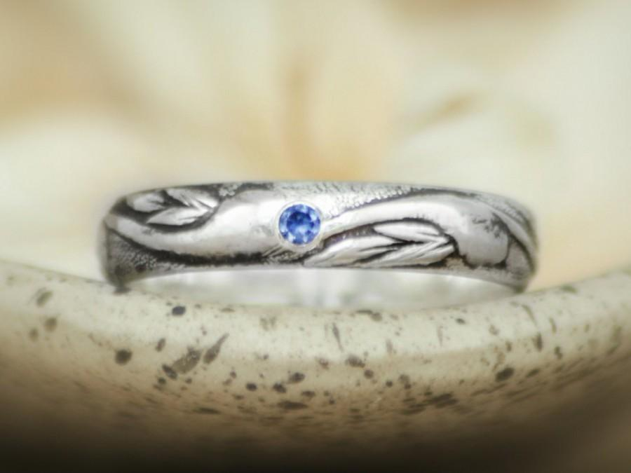 Clic Art Nouveau Wedding Band With Inset Blue Shire In Sterling Silver Men S Engagement Ring Uni Pattern