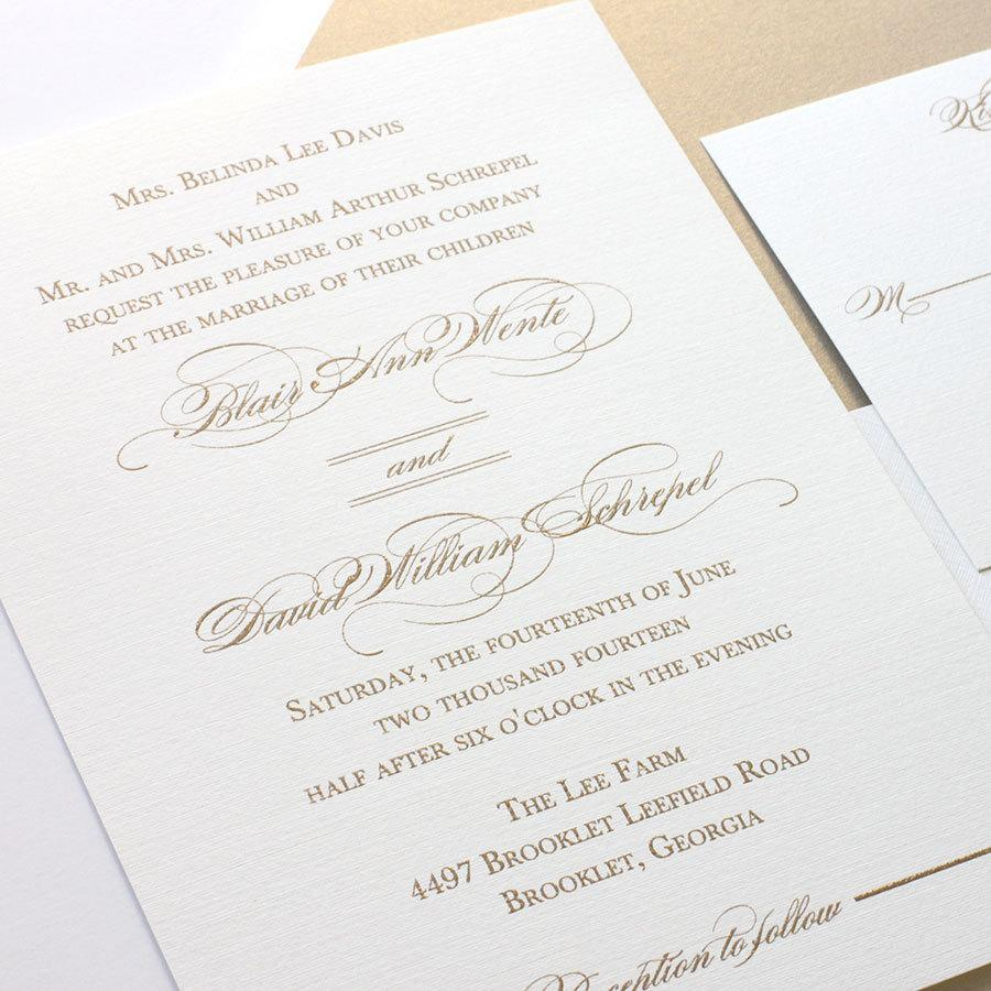 Gold Wedding Invitation Elegant Script Calligraphy Sample Package Thermography Printing Free Shipping