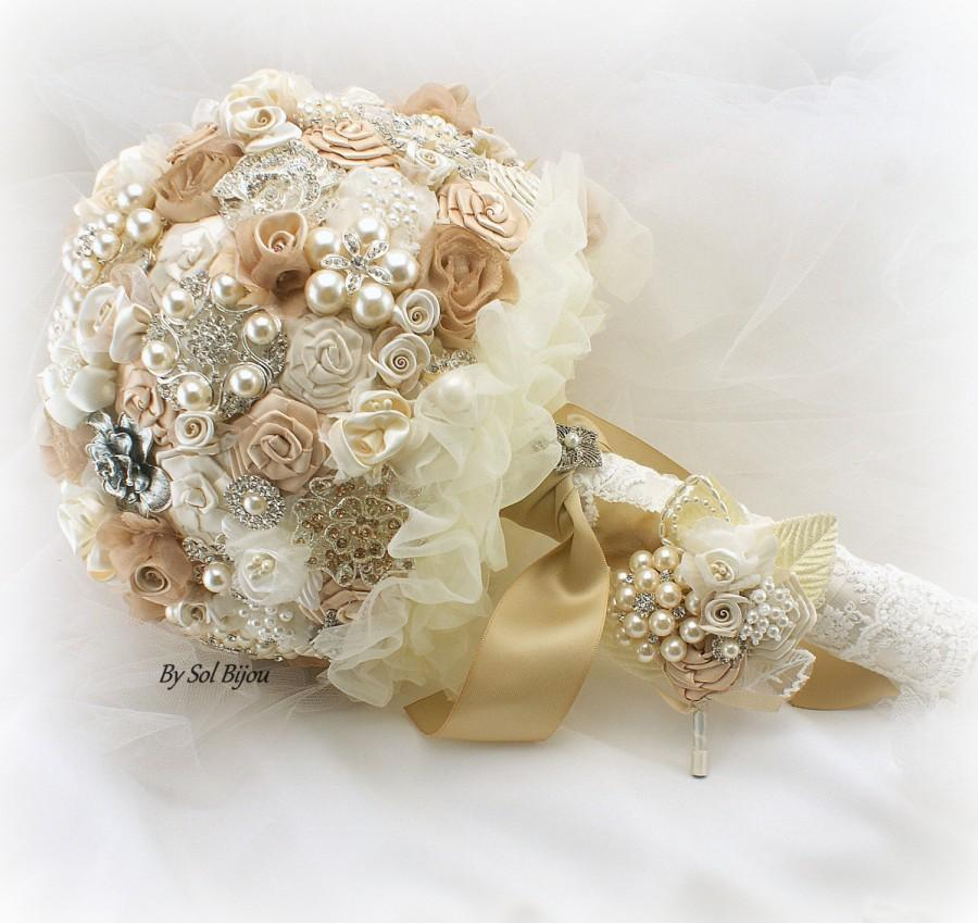 Brooch Bouquet Tan Champagne Cream Gold Ivory Boutonniere Vintage Wedding Gatsby Lace Crystals Pearls