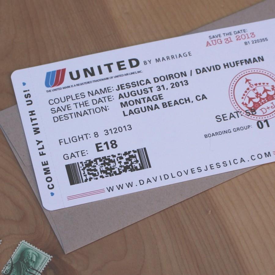 Airplane Ticket Save The Date Destination Wedding Travel Invitation Theme Sample