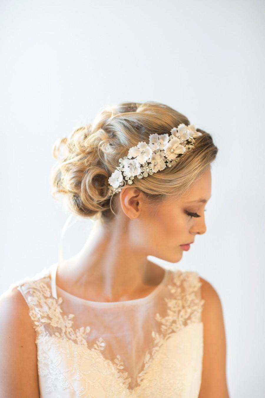 wedding headpiece, bridal hair accessory, bridal ribbon headband