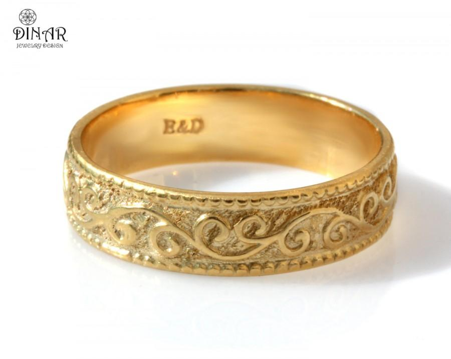 Scrolls 14k Yellow Gold Wedding Band women s Vintage Design Ring