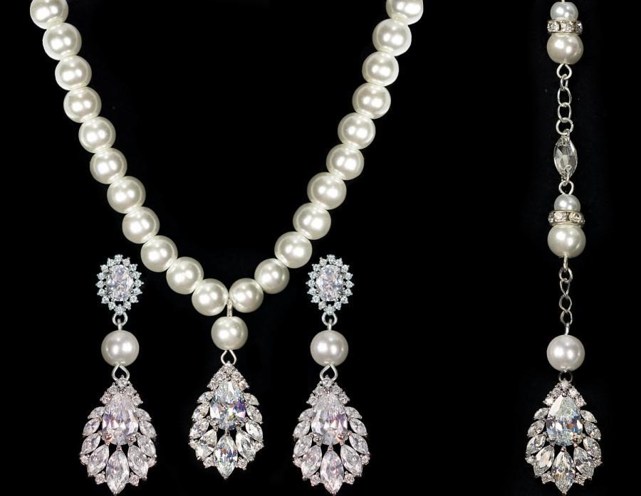 Bridal Jewelry Set Wedding Pearl Earrings Backdrop Necklace
