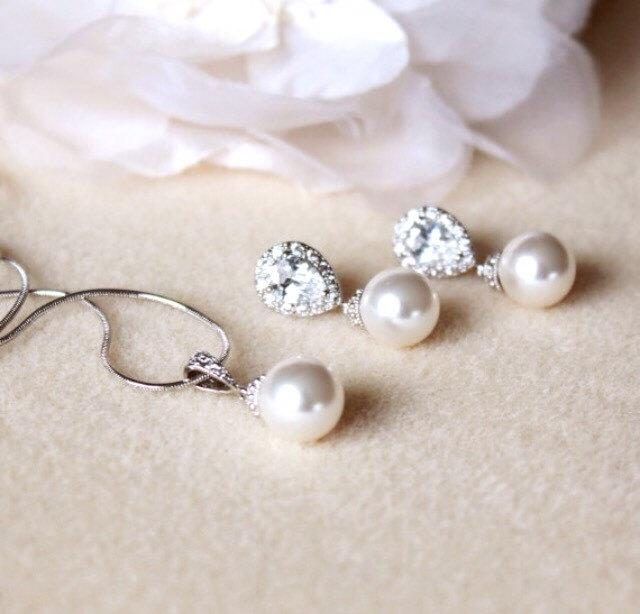 Wedding Gift Set Bridesmaid Jewelry Pearl Bridal White Ivory Swarovski Crystal Earrings And Necklace