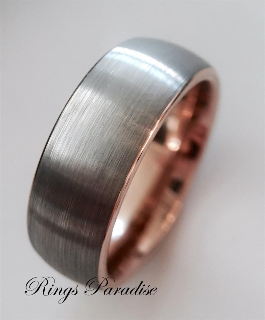 Wedding Bands Rose Gold Ring Tungsten Band Engagement His And Hers Promise Mens Gift