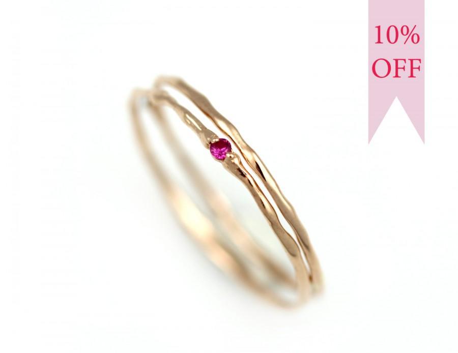 Gold Wedding Ring Set Ruby Rose Gold Rings Women Branch Stacking