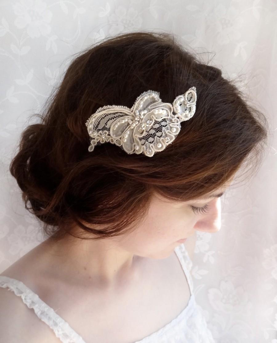 lace hair piece, bridal headpiece, lace bridal hair accessories
