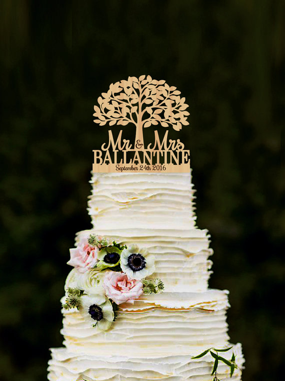 custom wooden wedding cake toppers mr mrs wedding cake topper with tree personalized wood 13266