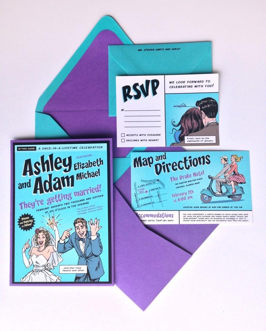 Custom Comic Book Wedding Invitation Kit Pocket Inserts Addressed Envelopes