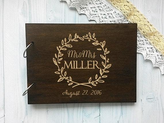 Personalised Wedding Guest Book Names Wooden Guestbook Alternative Wood Custom Engraved