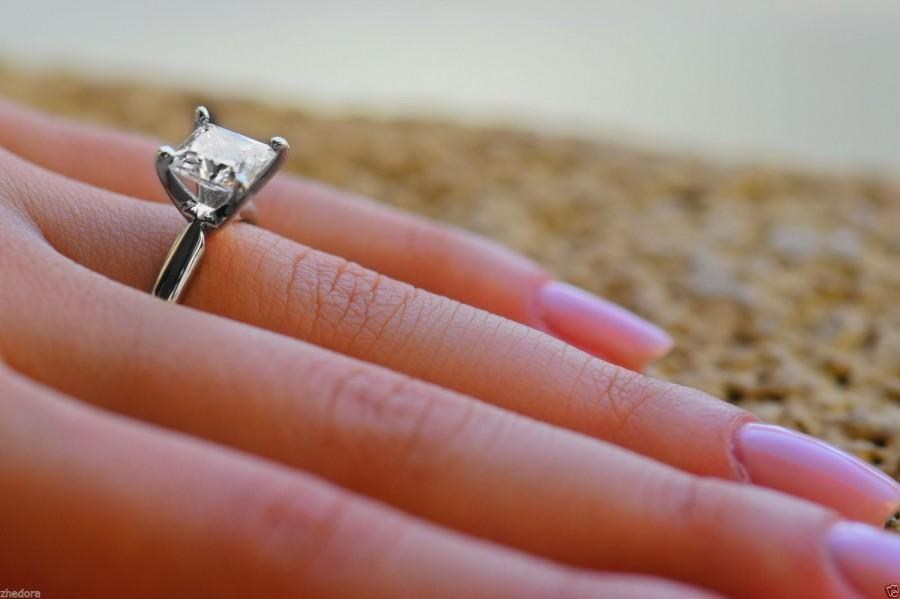 2 0 Ct Princess Cut Engagement Ring 14k White Gold Bridal Jewelry Solitaire Anniversary Simple Wedding Unique Zhedora