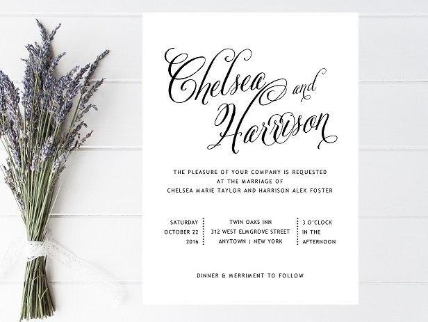 Black And White Wedding Invitation Formal Simple Traditional Invitations