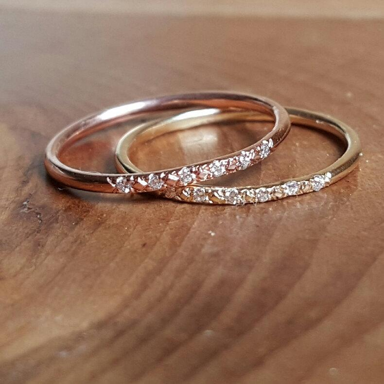 Womens Wedding Bands 14k Gold Band Pave Diamond Stacking Rings Solid Pink Rose Her Thin