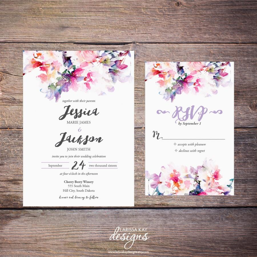 Printable Watercolor Fl Wedding Invitation Suite Spring Flowers Modern Invites Diy Print Yourself Jessica2