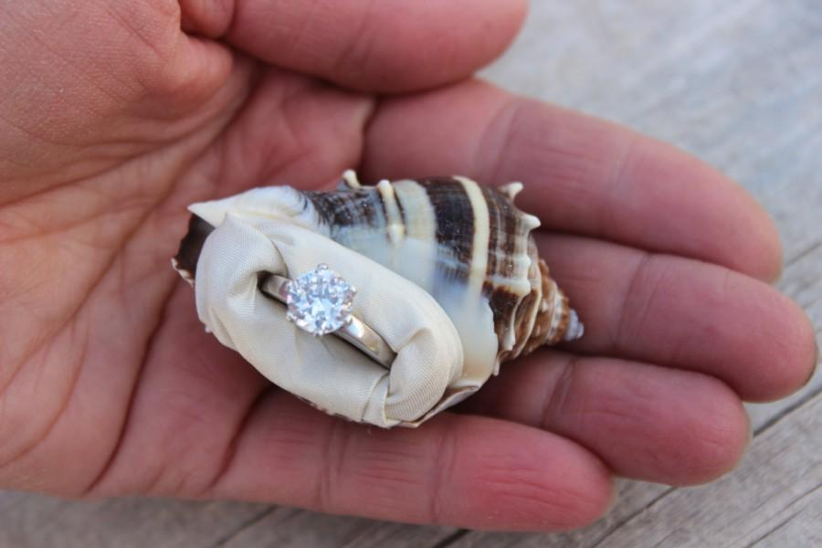Engagement Ring Box Proposal Sea Shell Beach Nautical Unique Organic Natural Gift Holder Dish