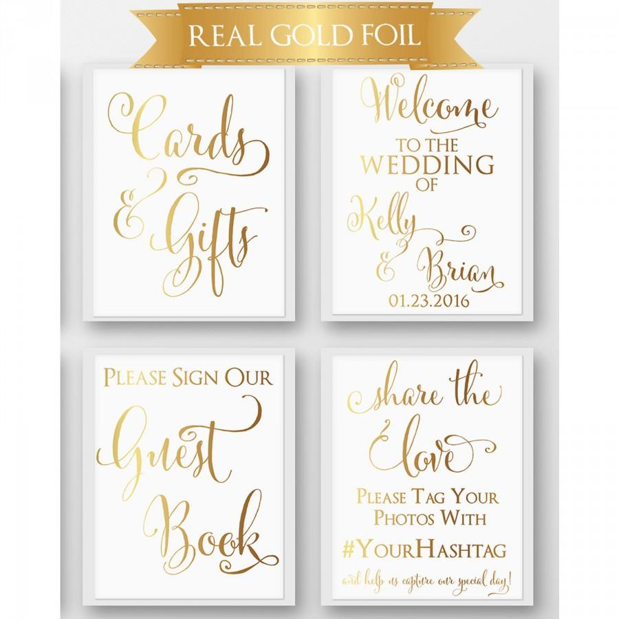 Gold Wedding Signs Set Of 4 Real Foil Reception Welcome Sign Hashtag Cards And Gifts Guest Book