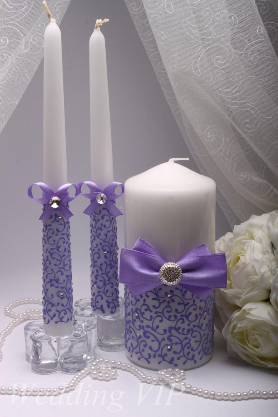 Unity Candles Lilac Hand Painted Candle Wedding Ceremony Set Personalized Lavender
