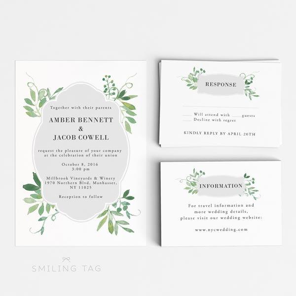 Rsvp Card Size Wedding Invitation Printable Set Watercolor Botanical Garden