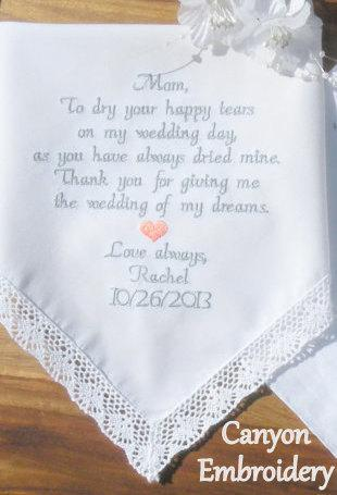 Embroidered Wedding Handkerchief Mother Of The Bride Gift For Mom By Canyon Embroidery