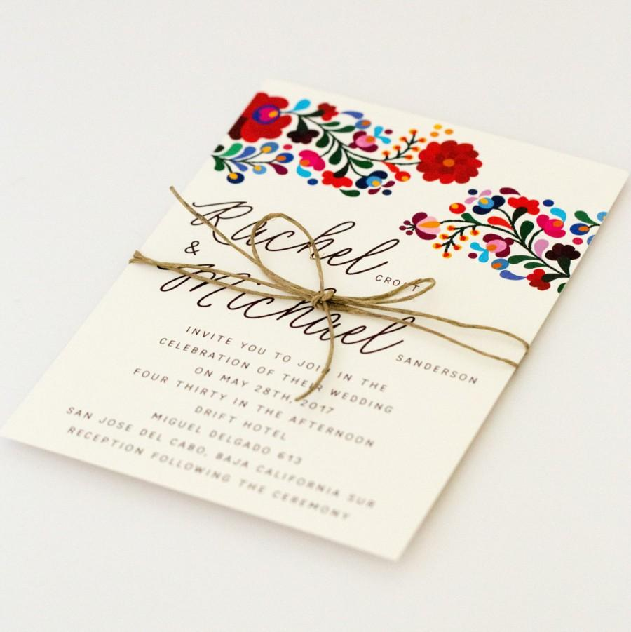 Destination Wedding Invitations Colorful Mexican Embroidery Inspired Summer Invitation Rachel Suite