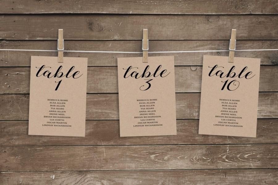 Wedding Seating Chart Template Printable Table Numbers Unique Cards