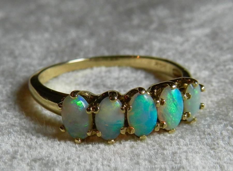 Opal Ring Gold 14k Stacking Antique Semi Black October Birthstone Gift Libra Wedding