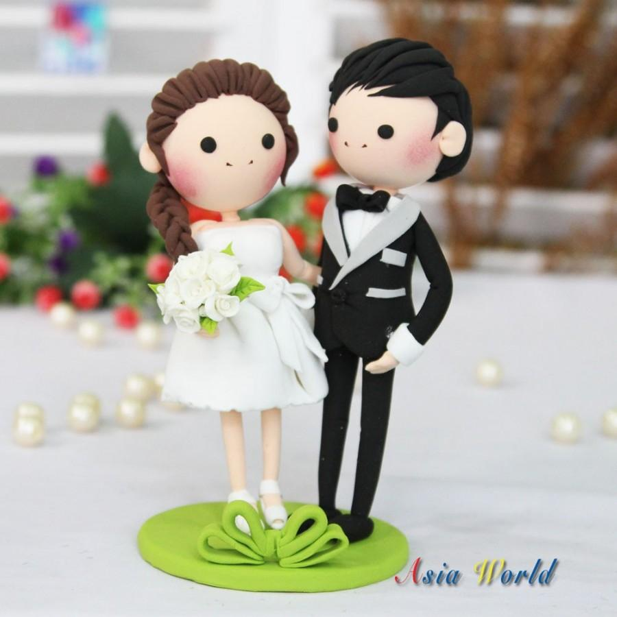 Wedding Cake Topper Green Theme Clay With Short Dress Bride Doll Rings Holder Miniature Figurine
