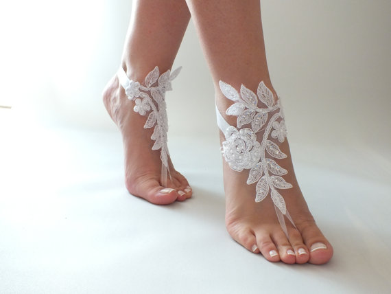 Free Ship Beach Wedding Barefoot Sandals Ivory Or White Shoes Bridal Lace
