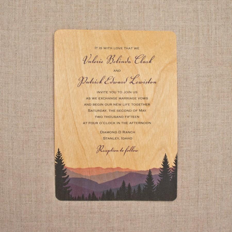 Real Wood Wedding Invitations Smoky Mountains
