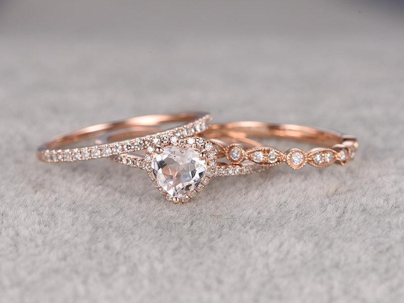3pcs Morganite Bridal Ring Set Engagement Rose Gold Diamond Wedding Band 14k 6mm Heart Shaped Gemstone Promise Art Deco Eternity