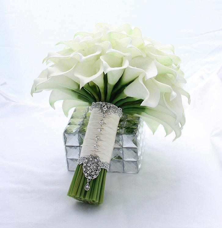Bridal Bouquet Real Touch Creamy White Mini Calla Lily Wedding Lilies Flowers Accessory