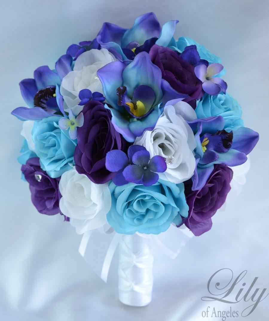 Wedding Bridal Bouquets 17 Piece Package Silk Flowers Bouquet Maid Bridesmaid Purple Turquoise Malibu Blue Orchid Lily Of Angeles Tupu06