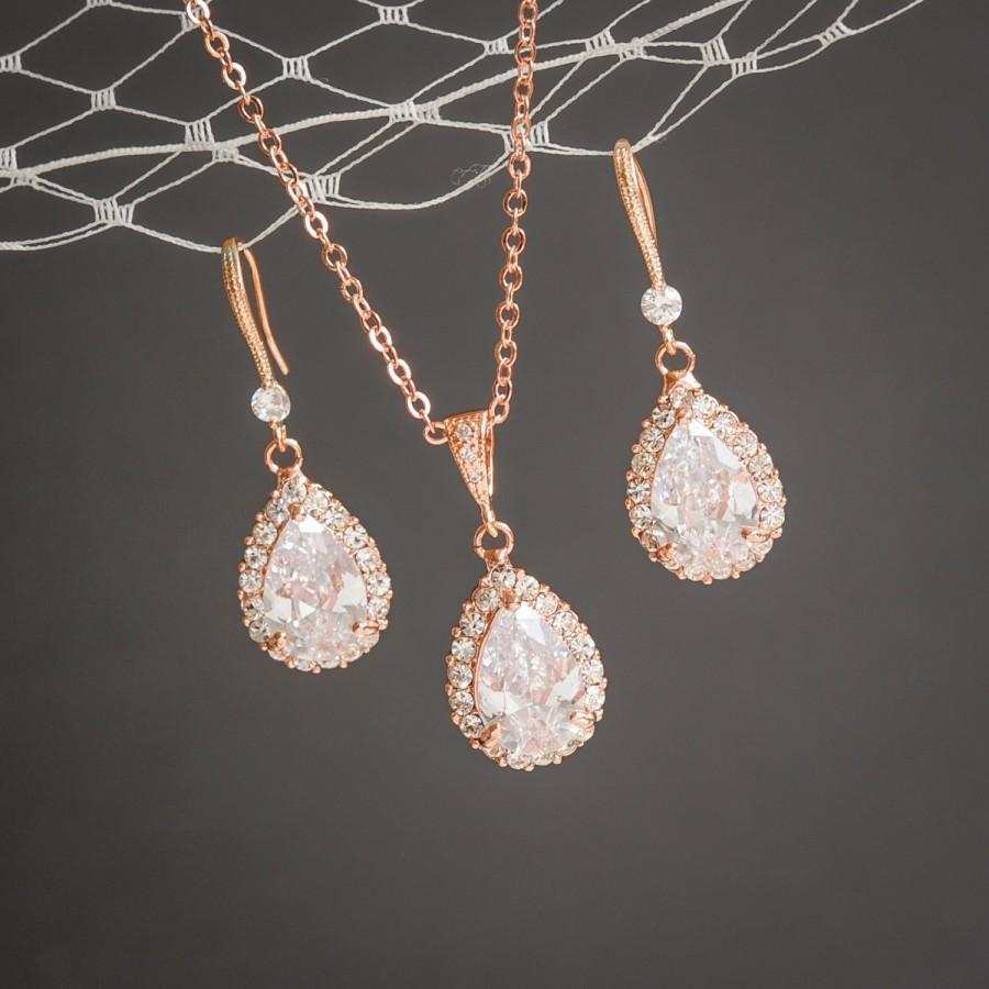 Rose Gold Wedding Jewelry Set Crystal Bridal Earrings Pendant Necklace Cz Teardrop Celena