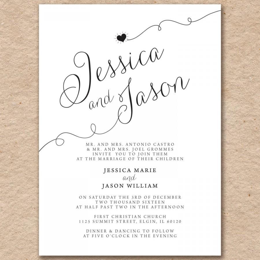Wedding Invitations Modern Elegant Printed On Pearlized Latte Or White Cardstock
