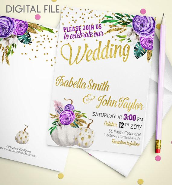 Wedding Invitation Printable Pumpkin Glitter Confetti Gold Purple Fall Invite Idw2