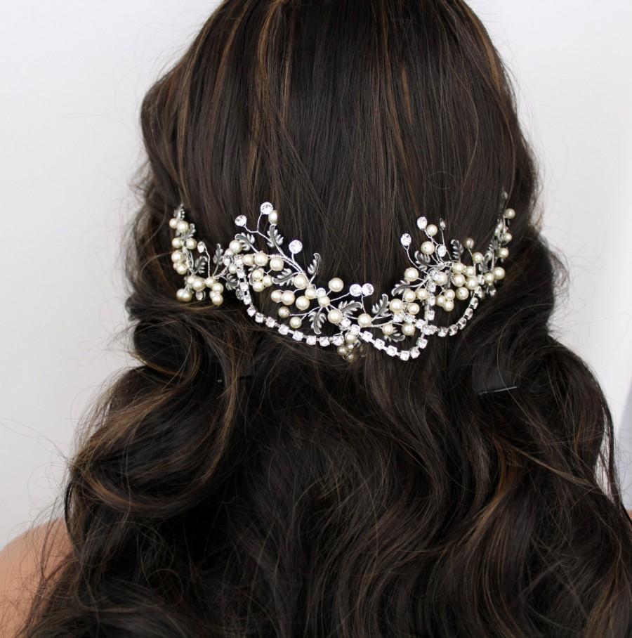bridal hair vine, wedding headpiece, antique silver hair piece