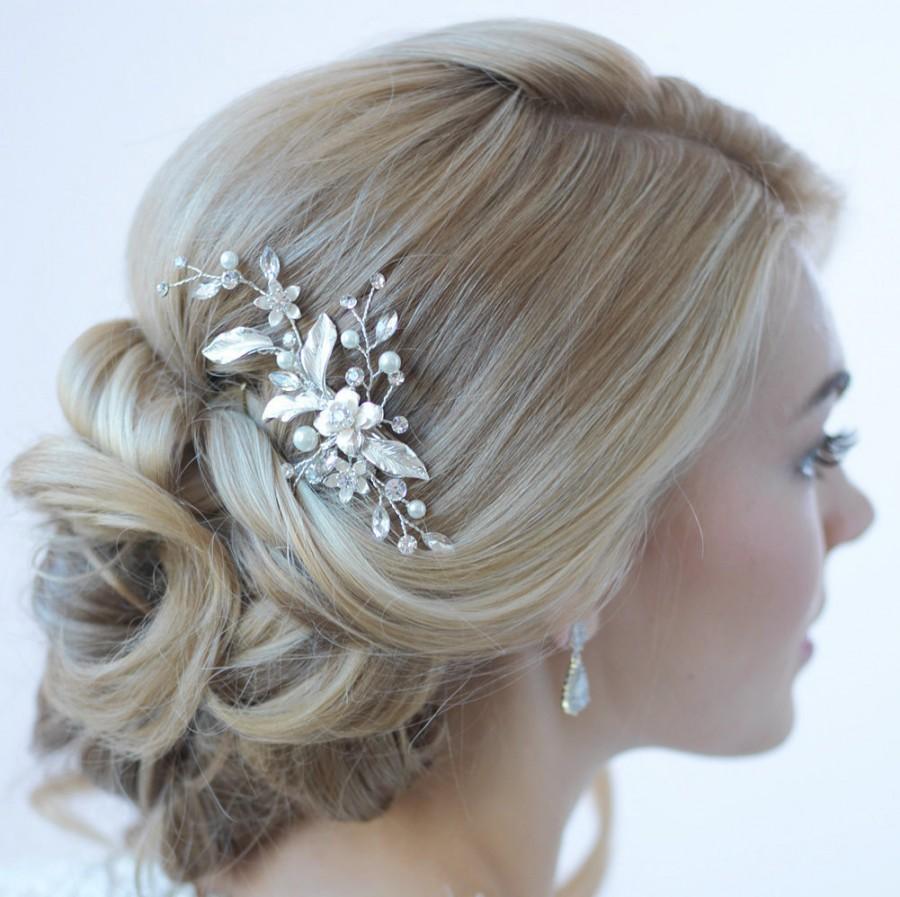 floral bridal hair clip, bridal hair accessory, pearl & rhinestone